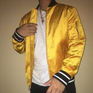 International Concepts Yellow Velour Bomber Jacket